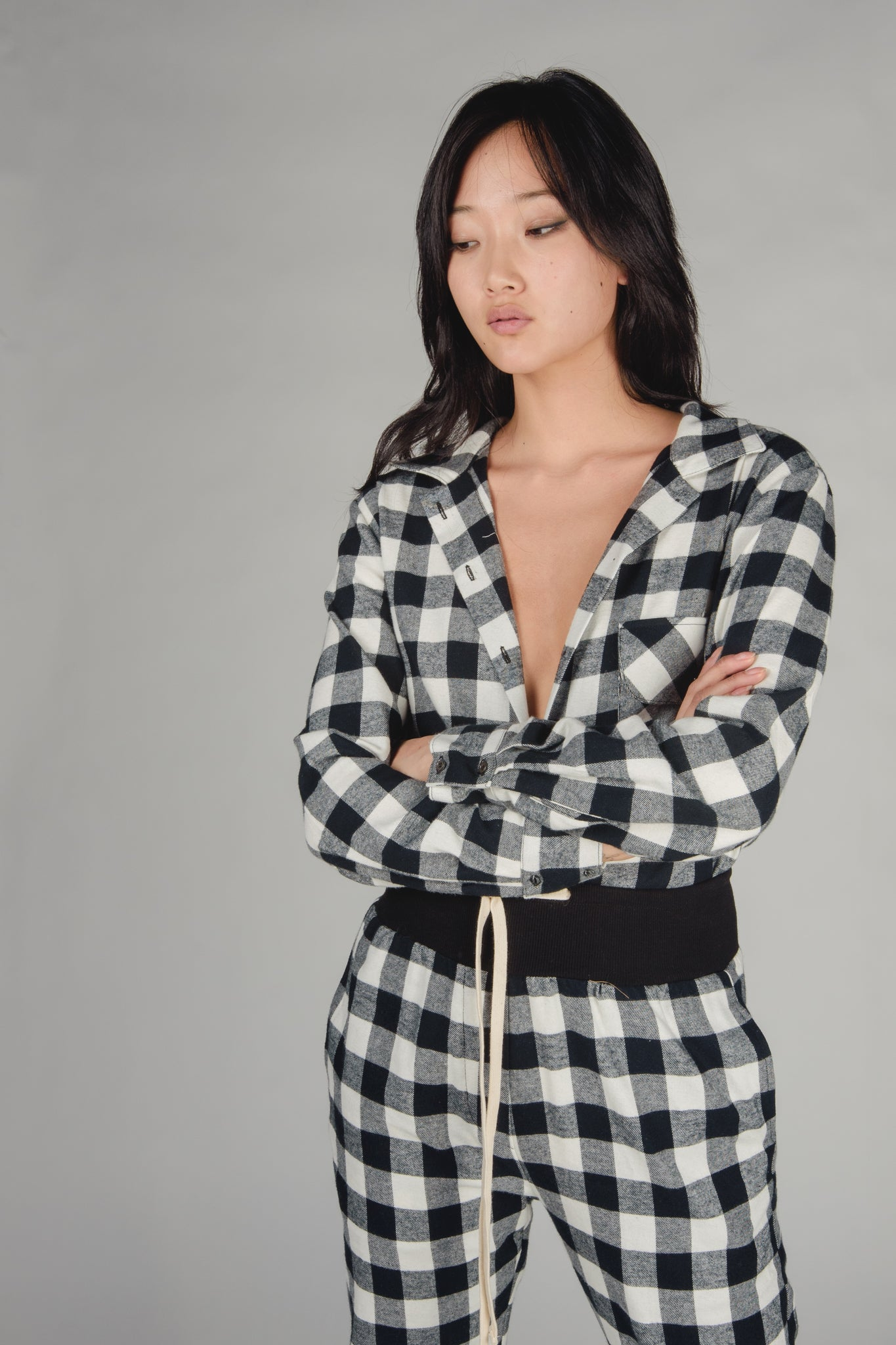 KES Mela Pajama Button Up - Black Flannel