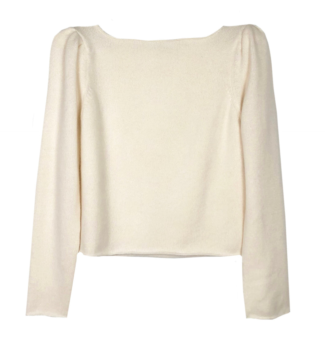 Ryan Roche Puff Sleeve Crop Sweater
