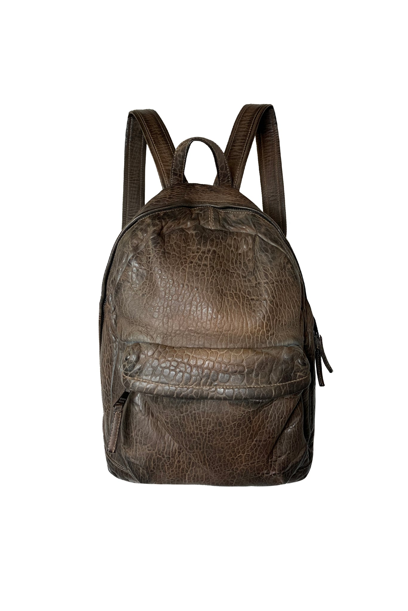 Giorgio Brato Pebbled Leather Backpack  - Cacao