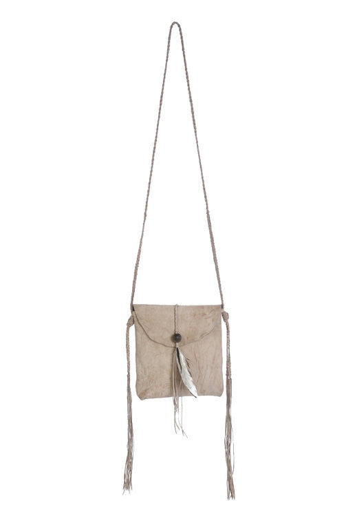 Caravana leather crossbody with feathers