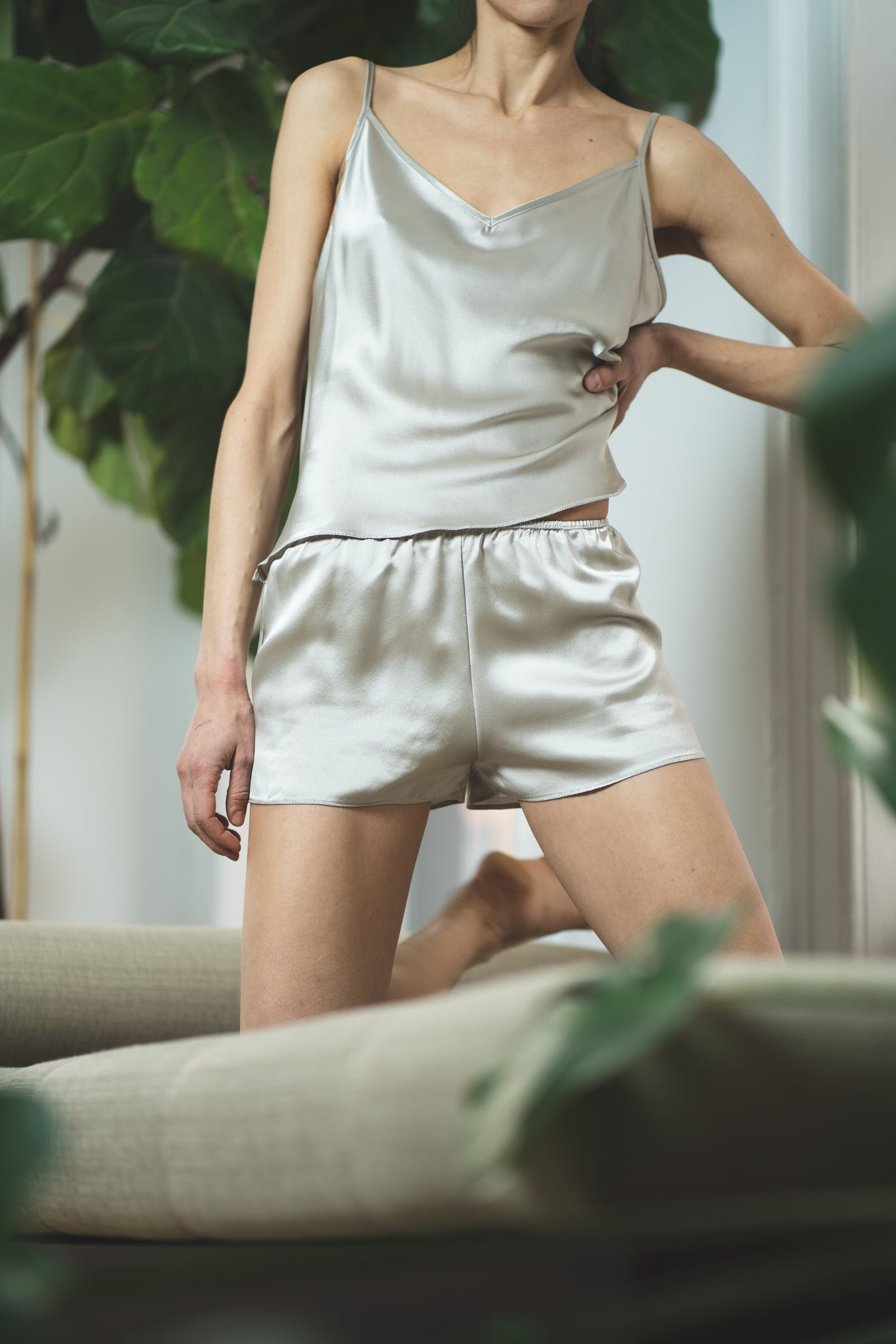 KES After Hours Set, Silk Slip Pajamas - Quartz