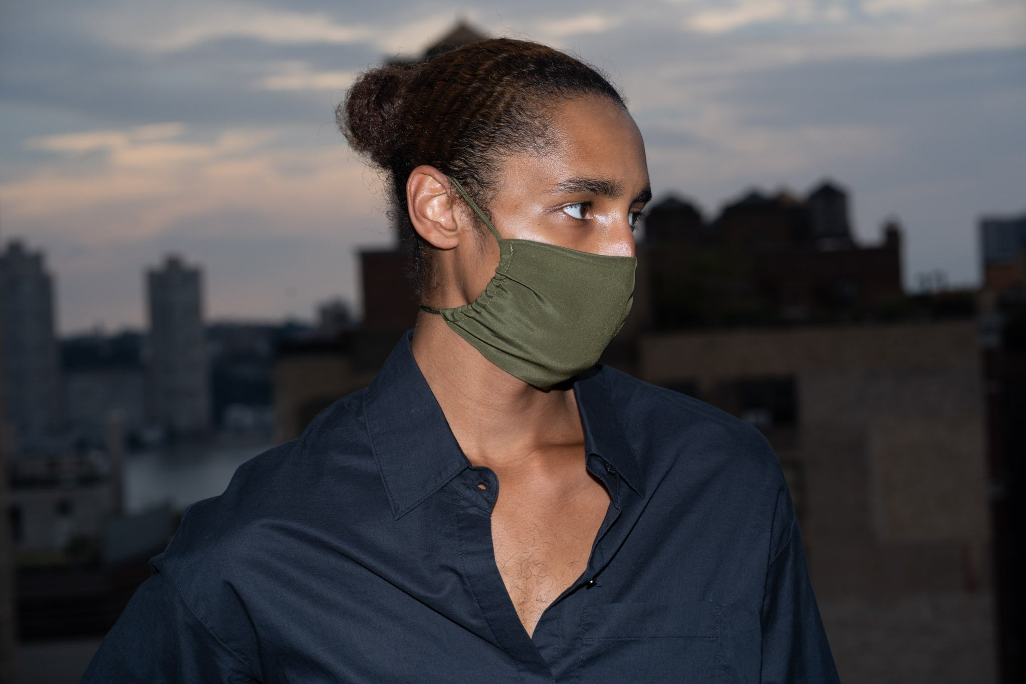 KES The Original Sustainable Washable Face Mask - Military Silk (3 in 1 Pack)