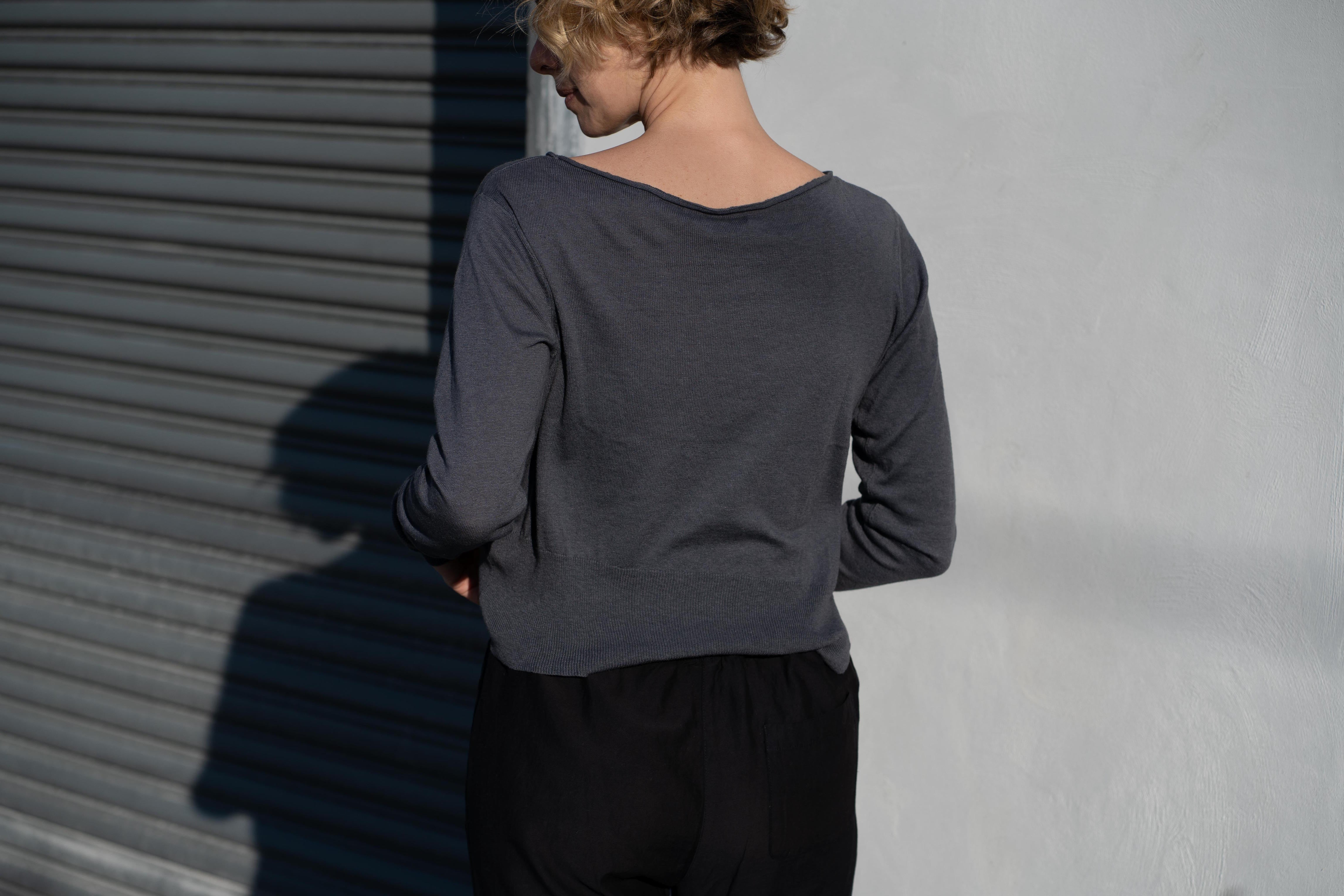KES Asymmetric Pullover Sweater - Carbon