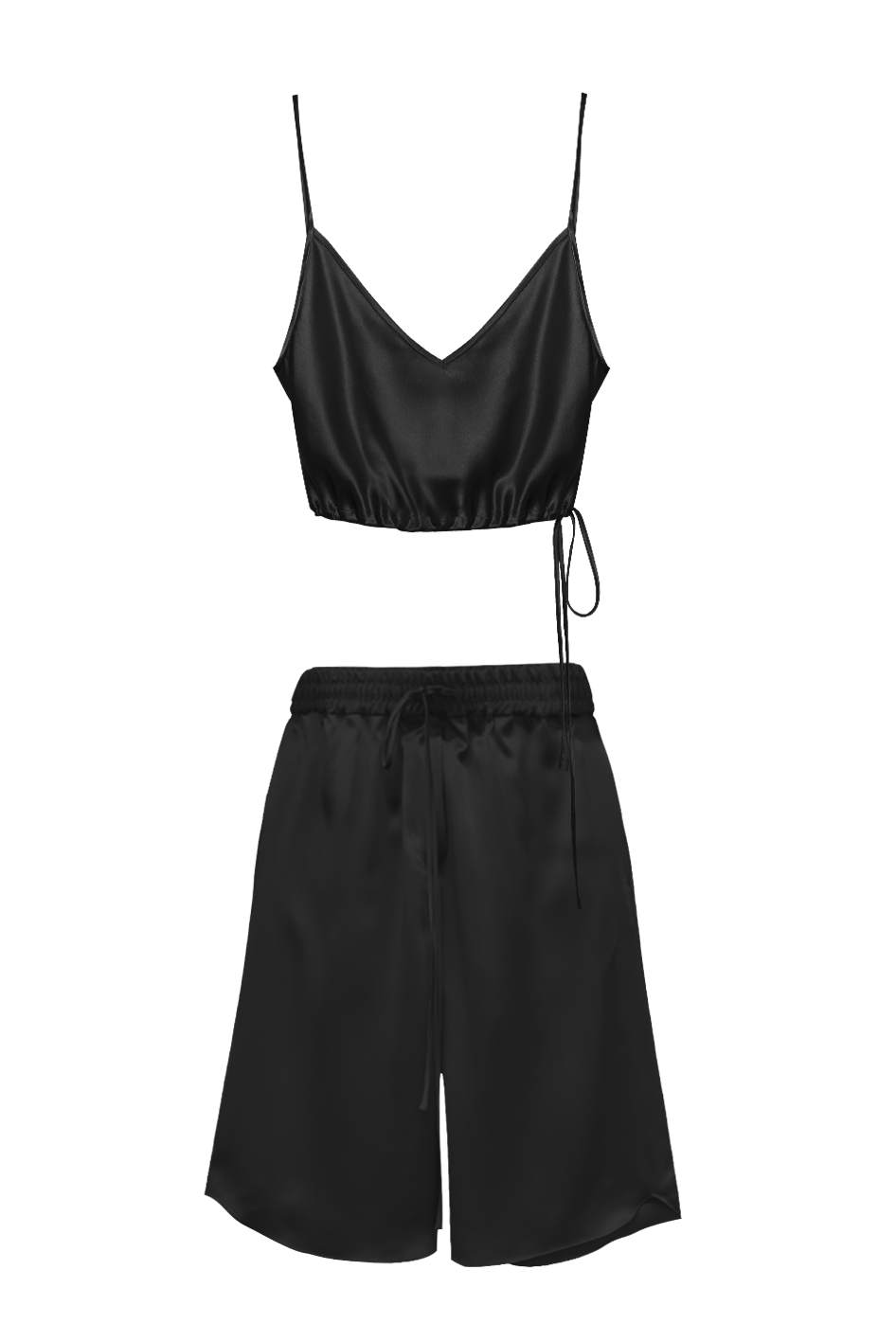 KES Time Out Set, Silk Bralette & Bermudas - Black
