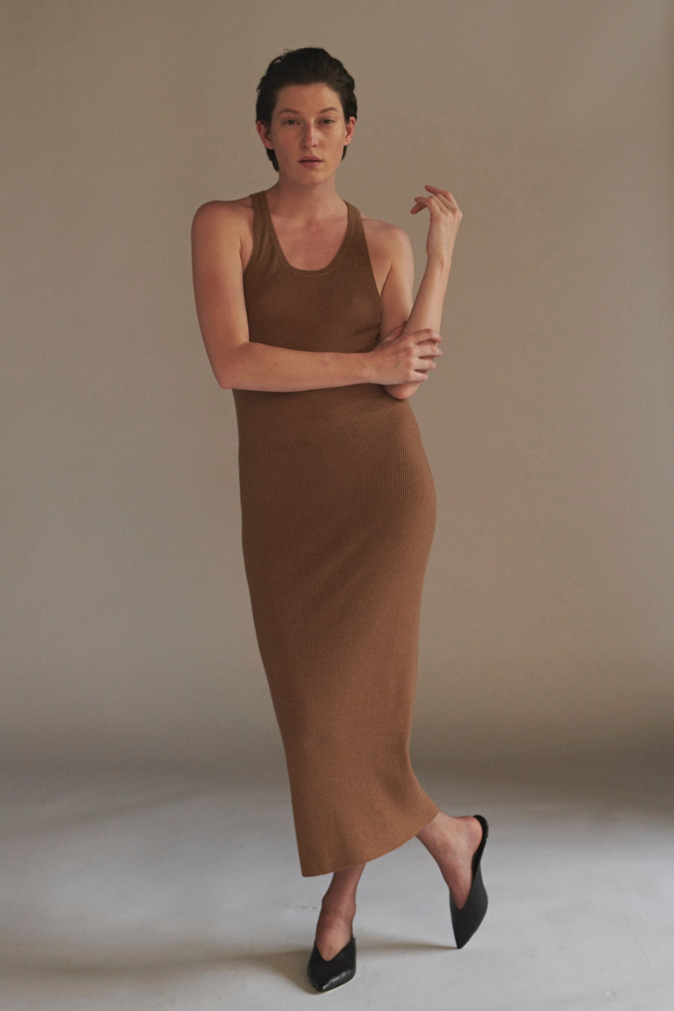 KES Knitted Cashmere Tank Dress- Amber (Pre-order)