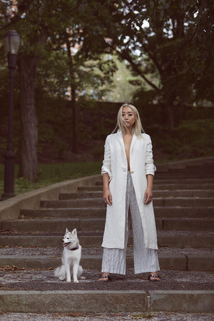 KES Linen and Silk Minimal Coat SS19 - Natural