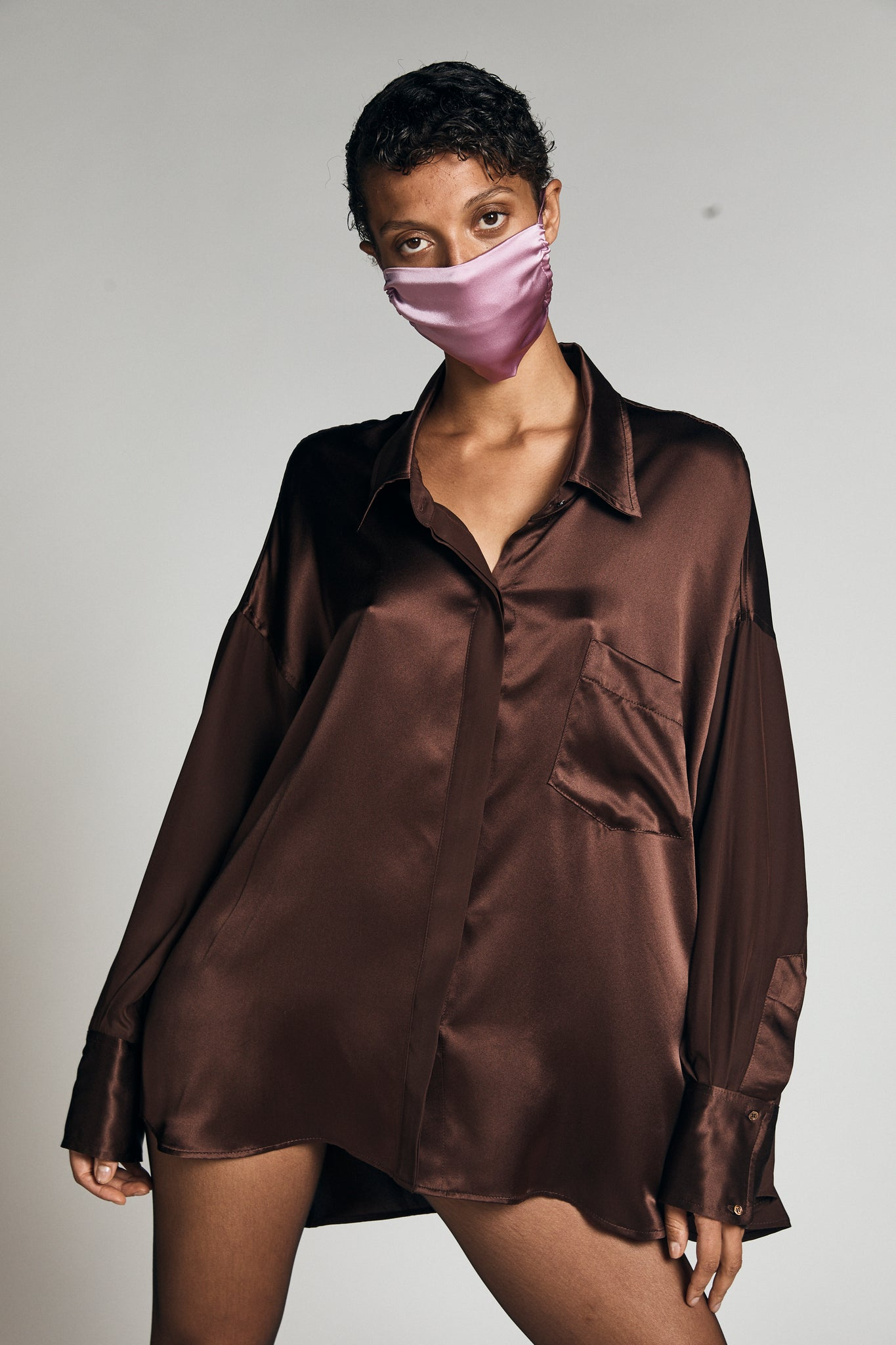 KES Oversized Button Down Silk Combo Shirt
