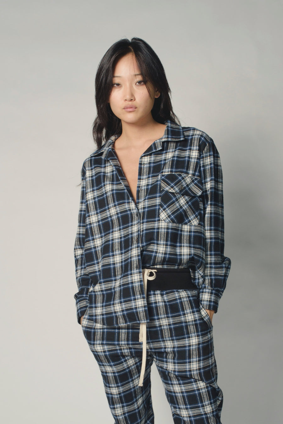 KES Mela Pajama Button Up - Navy Flannel