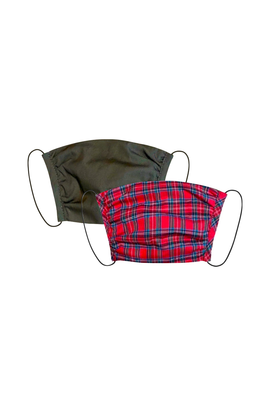 KES Peace Face Covering - Military Cotton/Red Gingham (2 in 1 Pack)