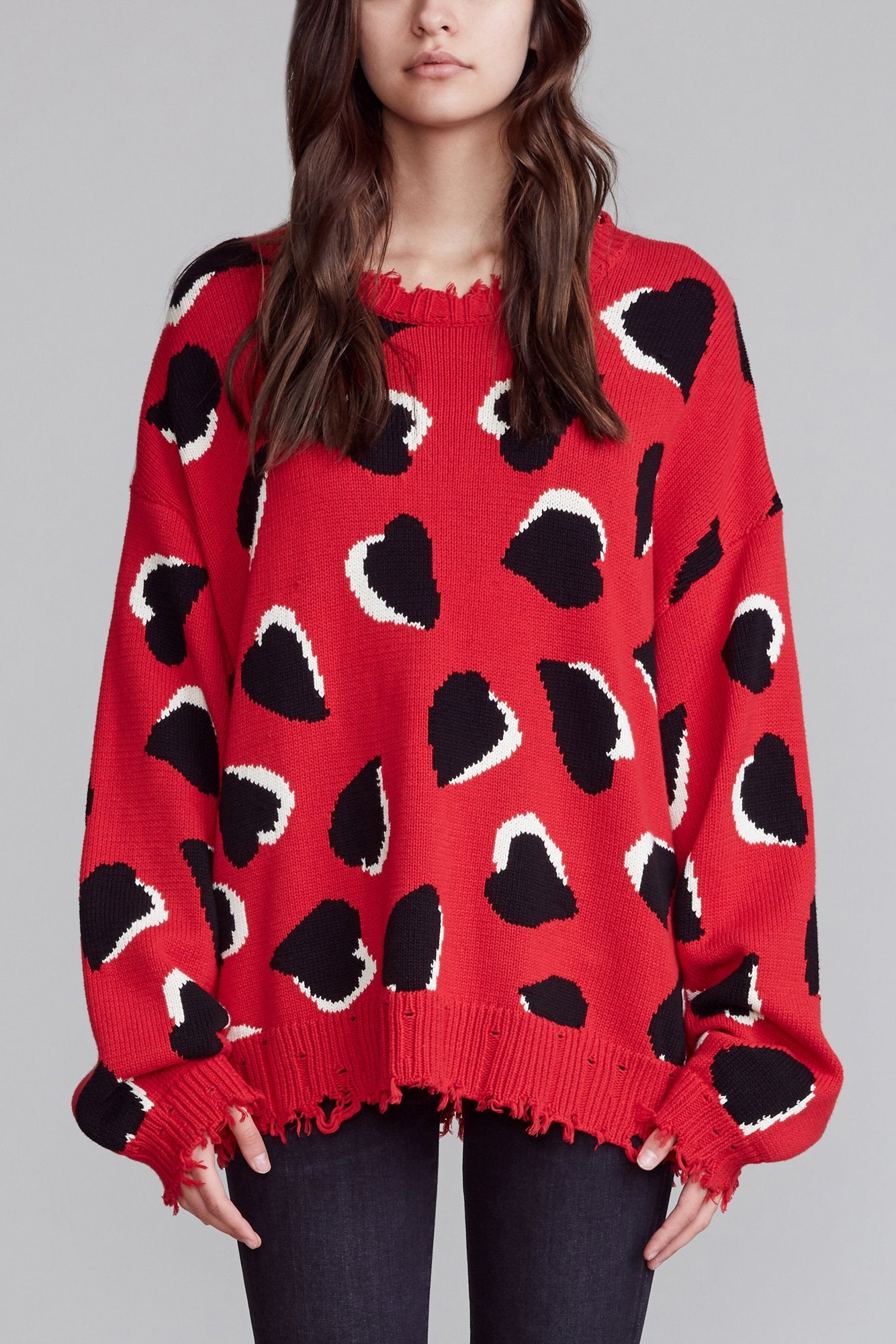 R13 Hearts Oversized Sweater -Red