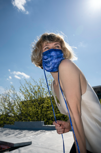KES Sustainable Washable Face Mask - Cobalt Handkerchief Print (1+1 donation)