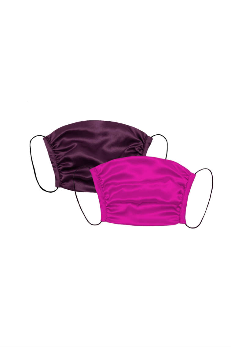 KES Peace Covering - Stylists Double Silk Mask Set, Grape/Magenta (2 in 1 Pack)