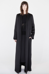The Abbey Elongated Satin Coat Dress
