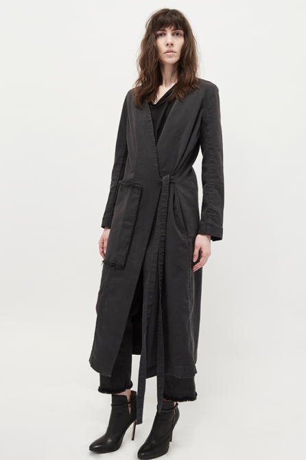 KES Wrap Asymmetric Denim Coat