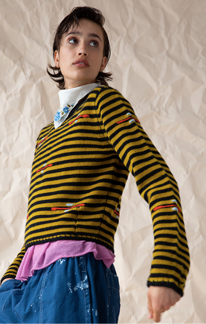 Raquel Allegra Crew Neck Stripe Sweater