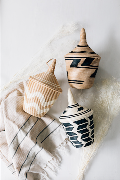Azizi Sisal Peace Basket- Chevron- Tea and White