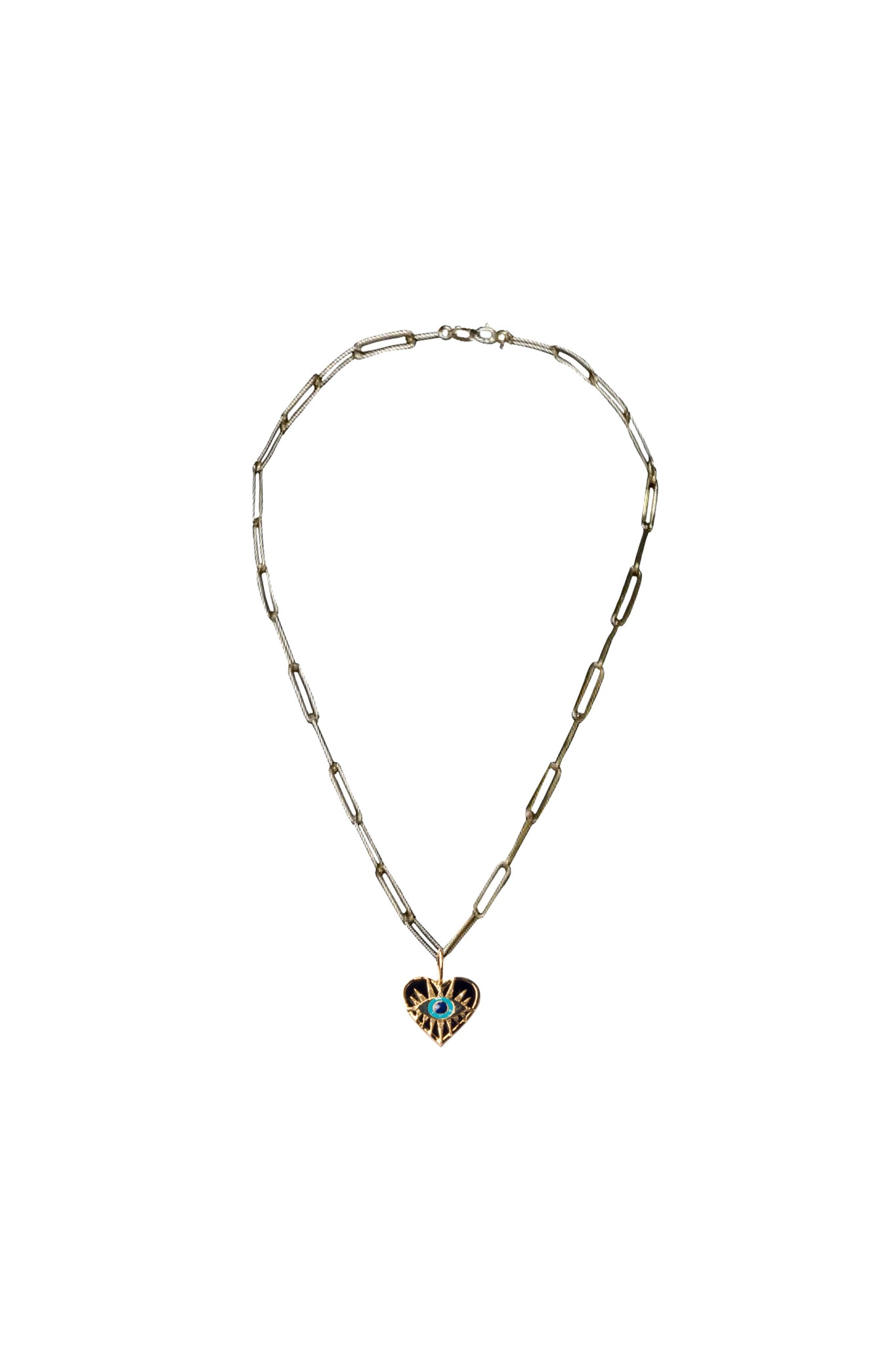 Love Rocks x KES Black Enamel Heart w/ Eye 14k Gold