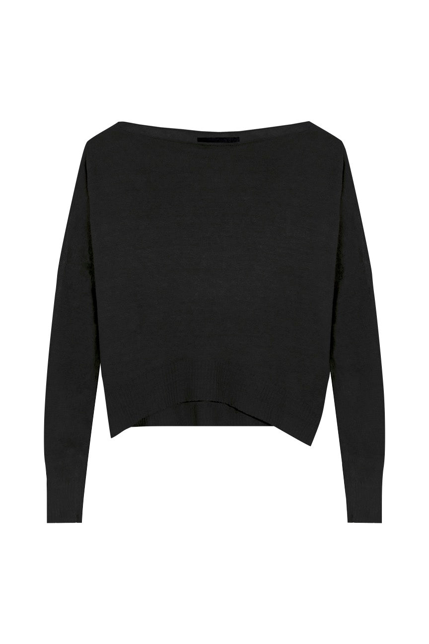 KES Asymmetric Linen Boat Neck Sweater - Black
