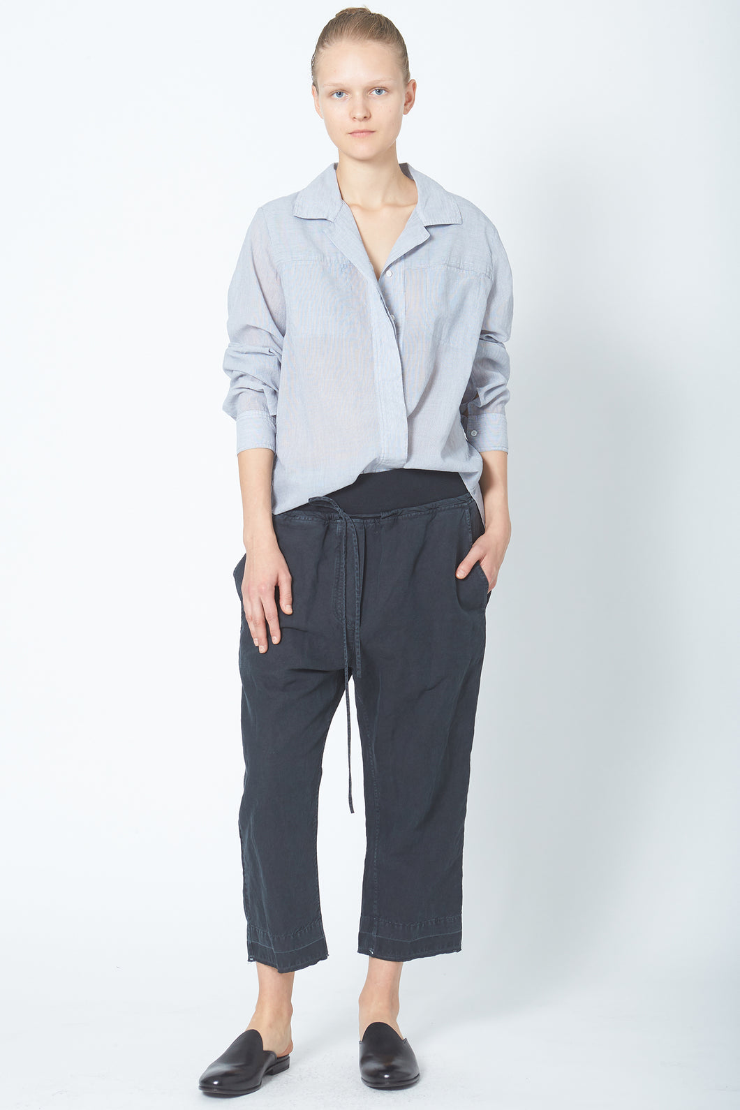 KES Drop Crotch Pant w/ Rib - Stone Washed Blue