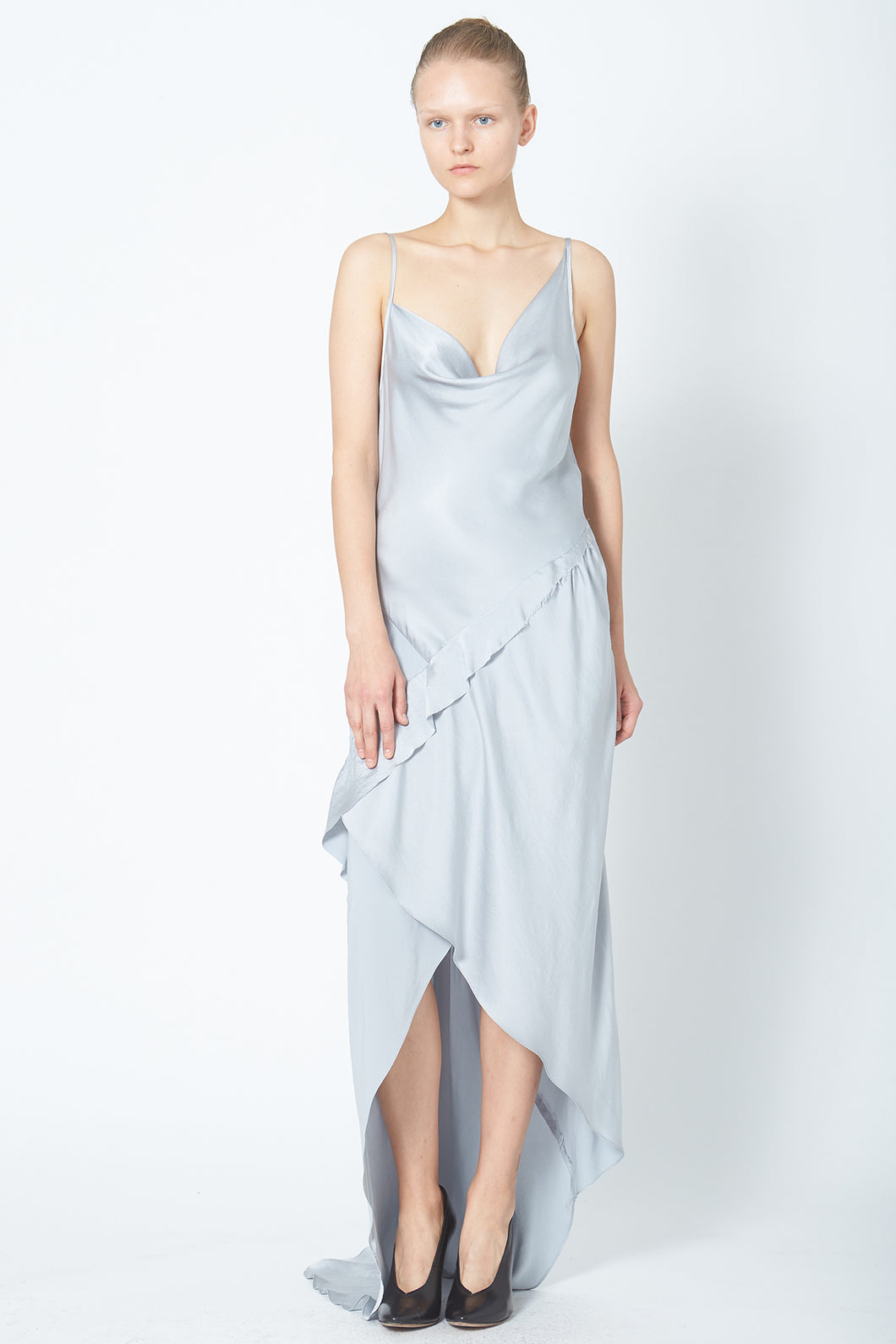 Cowl Neck Recycled Ruffle Slip Dress