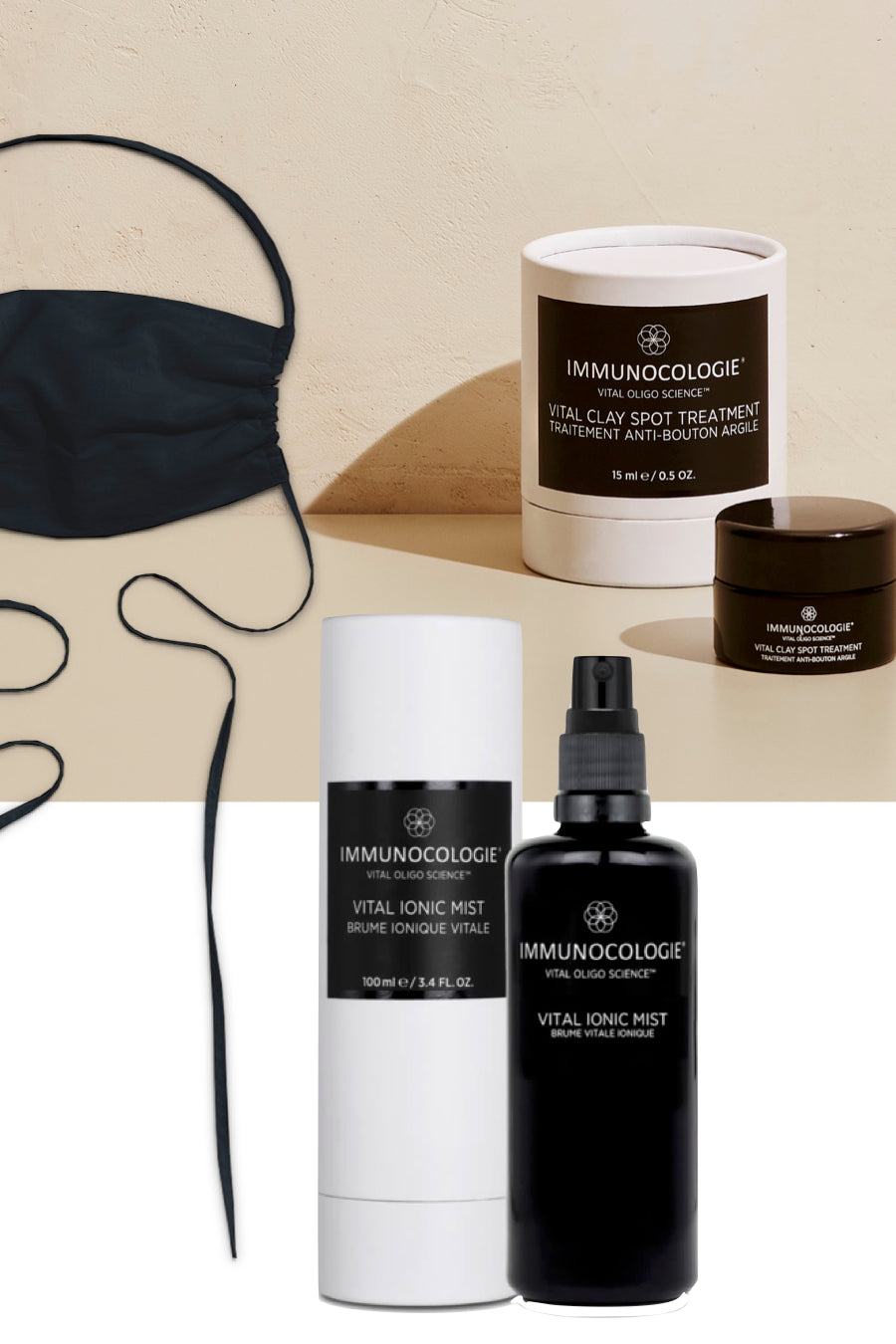 Immunocologie Maskne Protection Package + GIFT: Black Cotton Face Mask