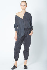 KES Elongated Pleated Back Button-Up - Organic