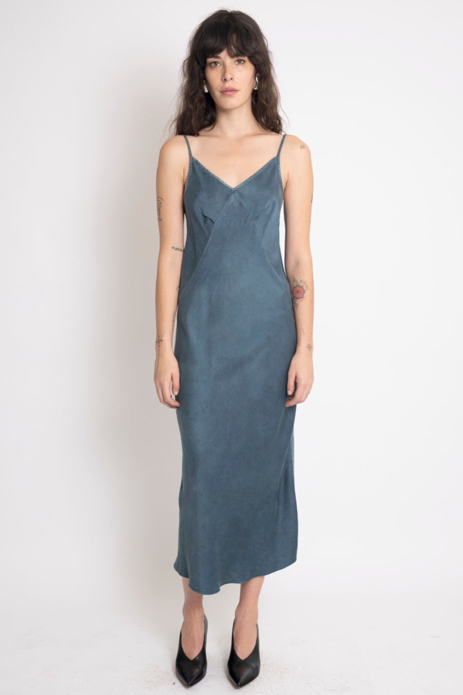 KES 7/8 Triangle Slip Dress FW19 - Organic Dusty Indigo