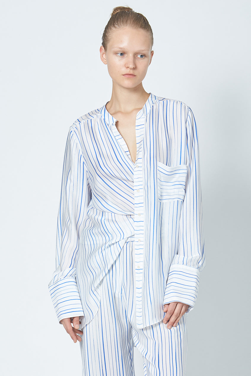 KES Elongated Pleated Back Button-Up - Stripe