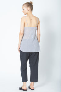 Recycled Ruffle Slip Top - Striped Cotton Voile