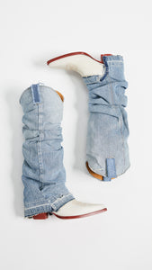 R13 Mid Cowboy Boot With Denim Sleeves