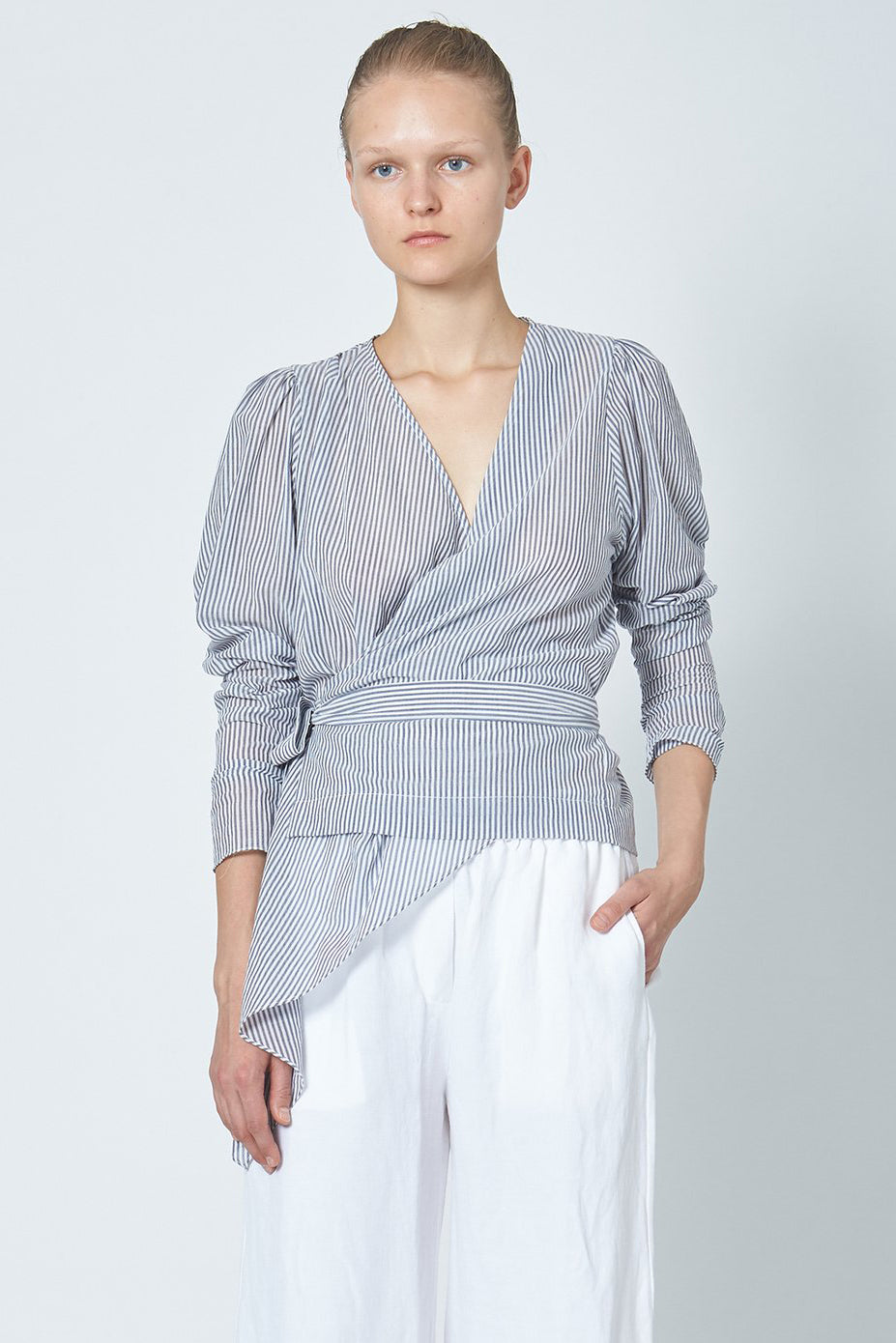 KES V Wrap Long Sleeve - Striped Cotton Voile