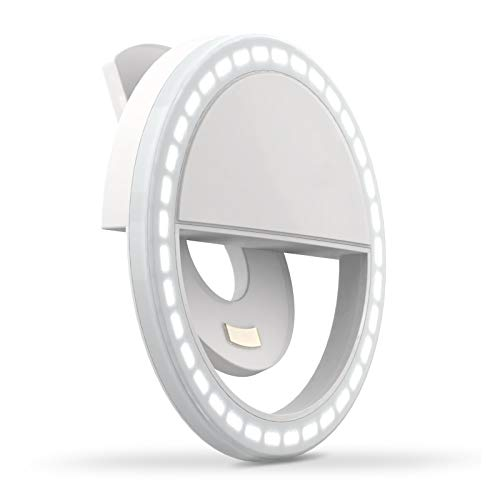 Selfie Ring Light LED Circle Light Clip On Rechargeable for Cell Phone Laptop Photography White