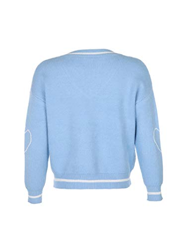 Women Check Knit Sweater Cardigans Y2K Knitwear V Neck Long Sleeve Button Down Crop Tops Casual Outwear Coat (C31 Blue-Withered Pattern, M)