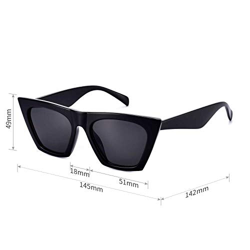 Sunglasses for Women Trendy Cateye Square Cat Eye Black Vintage Cool Retro Fashion Rectangle 90s Cute Funky Aesthetic Small 70s 2000s Stylish Chunky Baddie 2021 Angular 2019 Frame unique Lady Mosanana