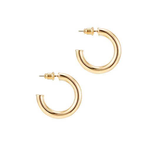PAVOI 14K Yellow Gold Colored Lightweight Chunky Open Hoops | 30mm Yellow Gold Hoop Earrings for Women