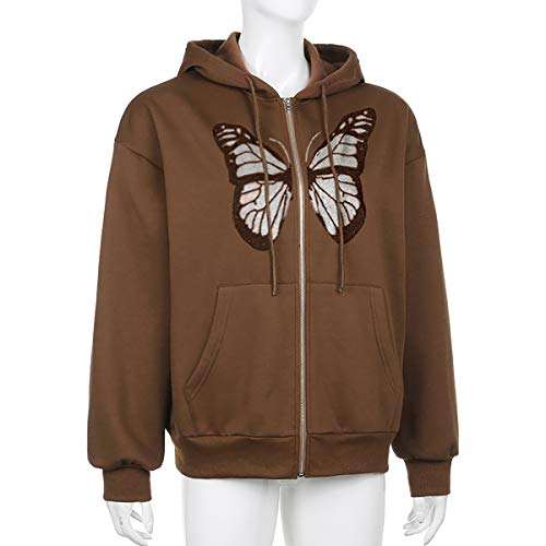 Meladyan Women's Oversized Butterfly Graphic Full-Zip Drawstring Hoodies Sweatshirts Pullover Jackets with Pockets Brown