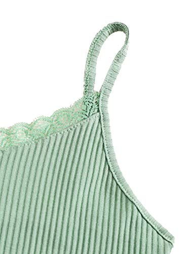 Verdusa Women's Contrast Lace Spaghetti Strap Ribbed Knit Crop Cami Top Light Green M