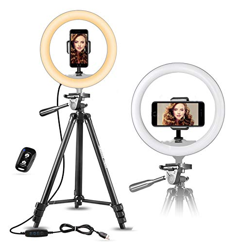"UBeesize 10"" Selfie Ring Light with 50"" Extendable Tripod Stand & Flexible Phone Holder"