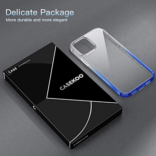 CASEKOO Crystal Clear Compatible with iPhone 12 Case, Designed for 12 Pro Case [Never Yellow] [Military Grade Protection] Shockproof Protective Phone Case Slim Thin Cover 5G 2020 (Gradient Blue)