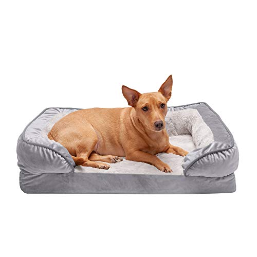 Furhaven Pet Dog Bed - Orthopedic Plush Velvet Waves Perfect Comfort Traditional Sofa-Style Living Room Couch Pet Bed with Removable Cover for Dogs and Cats, Granite Gray, Medium