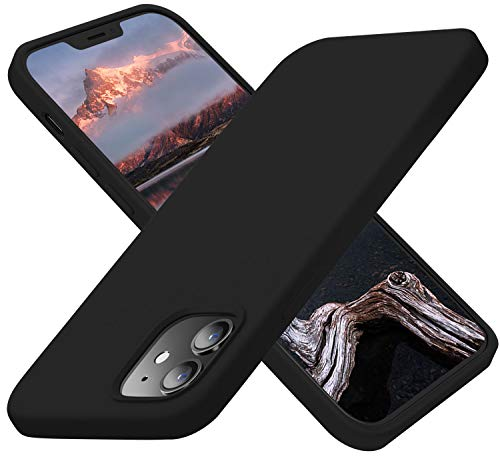 Cordking Designed for iPhone 12 Case, Designed for iPhone 12 Pro Case, Silicone Slim Shockproof Phone Case Cover with [Soft Anti-Scratch Microfiber Lining] 6.1 inch, Black