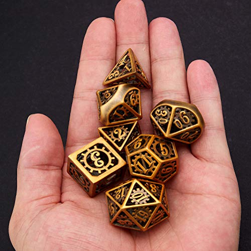 Hollow Metal DND Game Dice Antique Copper and Gear Numbers 7Pcs Set for Dungeons and Dragons RPG MTG Table Games D&D Pathfinder Shadowrun and Math Teaching