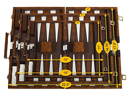 Get The Games Out Top Backgammon Set - Classic Board Game Case - Best Strategy & Tip Guide - Available in Small, Medium and Large Sizes (Brown, Large)