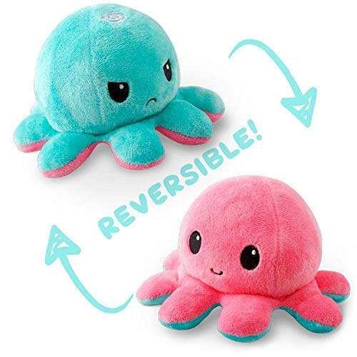 TeeTurtle | The Original Reversible Octopus Plushie | Patented Design | Light Pink and Light Blue | Show your mood without saying a word!