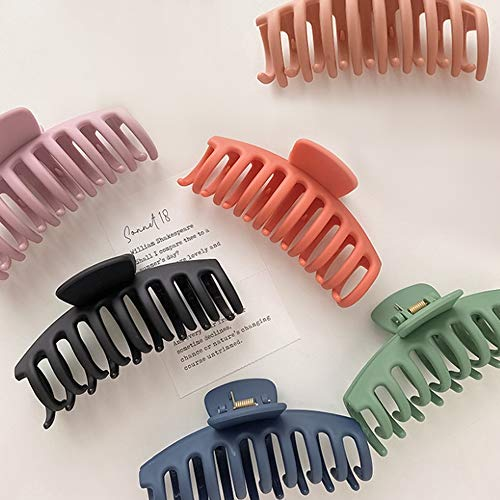 6PCS Big Hair Claw Clips 4.3 inch Large Hair Clips Nonslip Large Claw Hair Clips Jaw for Women Girls Thick Hair(6 Colors)