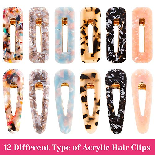 Cridoz 12 Pcs Acrylic Resin Hair Barrettes Hair Clips for Women Hair Accessories