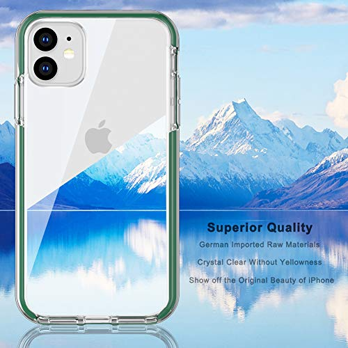 COOLQO Compatible for iPhone 11 Case, with [2 x Tempered Glass Screen Protector] Clear 360 Full Body Coverage Hard PC+Soft Silicone TPU 3in1 Heavy Duty Shockproof Defender Phone Protective Cover Green