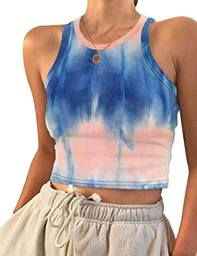 AUSELILY Cropped Tops Crop Tank Tops Ribbed Crop Top Small Tie Dyed Dark Blue Pink