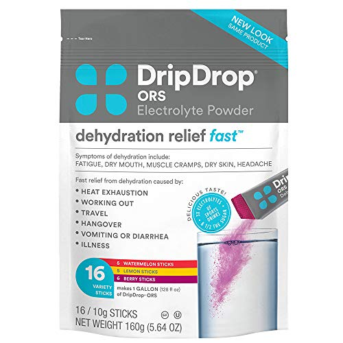 DripDrop ORS Electrolyte Hydration Powder Sticks Variety Pack (16 Count)