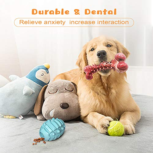 V-HANVER Dog Toy for Aggressive Chewers Large Breed Chew Bone for Large Medium Small Dogs Durable Tough Pet Toy Made with Non-Toxic Rubber, Beef Flavored